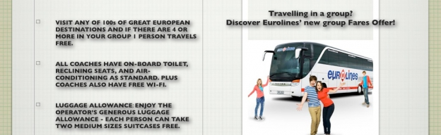 Travelling in a group? Book 4 seats and get the 4th one free at Eurolines UK