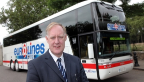 The man who tries to save the long-distance coach transport in Europe. The Eurolines man Mr John Gilbert