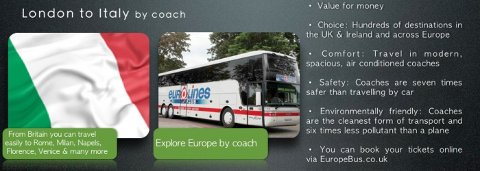 London to Italy coaches by bus